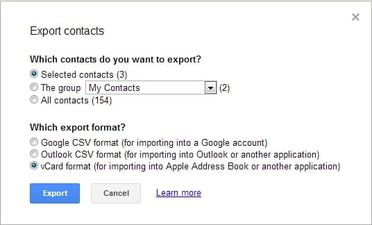 export gmail contacts to iPhone
