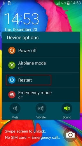 Reboot the Device to Fix Android Camera Not Working