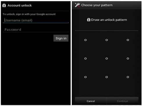 screen lock bypass via Forget Pattern
