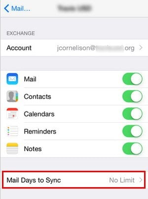 Change Mail Settings to No Limit to fix iPhone Emails Disappeared