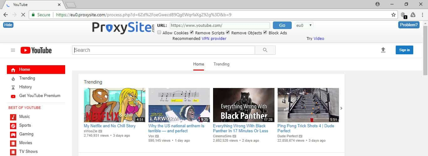 Unblock YouTube Videos with Proxysite