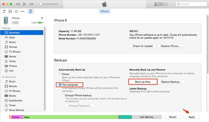 Use iTunes to create a WeChat backup