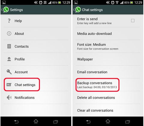 transfer WhatsApp messages from Android to Android Using Local backup