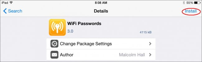 show wifi password on iPhone with WI-FI Passwords on Cydia