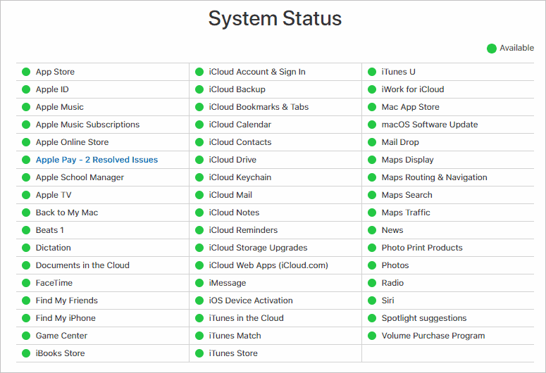 Check System Status to solve there was an error connecting to the apple id server