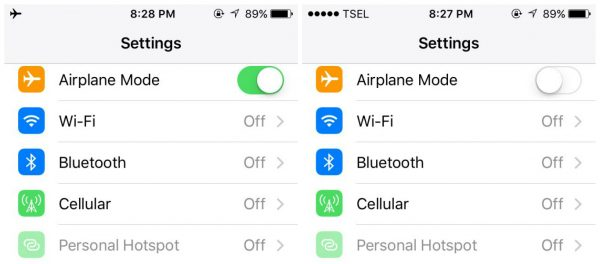 Check airplane mode to fix iPhone Won't Connect to WiFi