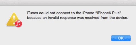 iTunes could not connect invalid response
