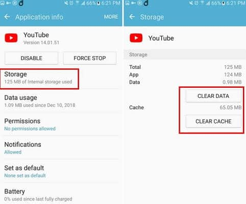 Clear Youtube app cache to fix YouTube Not Working on Android