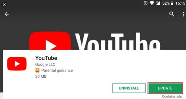 Fix YouTube Not Working on Android by Updating Application