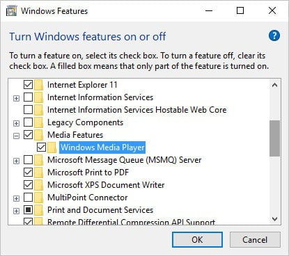 Disable the Windows Features