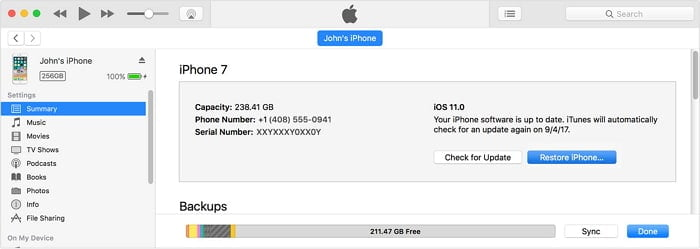 Restore your iOS device through iTunes to fix iPhone screen glitch