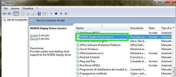 Check NVIDIA Display Driver Service to fix NVIDIA display settings are not available