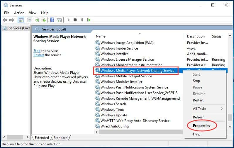 Check Windows Media Player Network Sharing Service