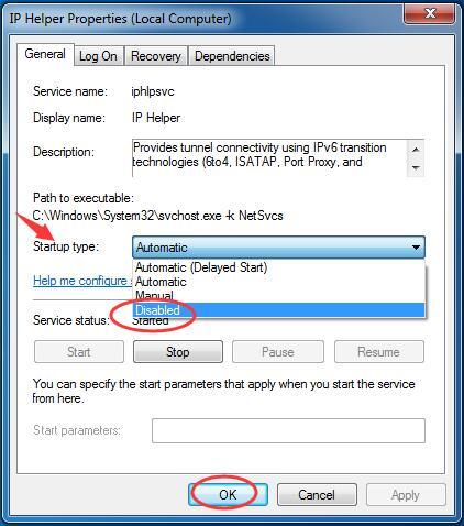 Disable Your IP Helper Service