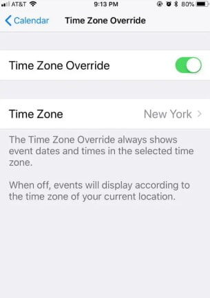 Override the Time Zone