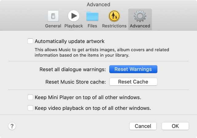 Resetting the warnings in Apple Music and iTunes