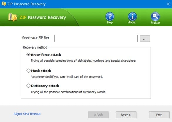 ZIP File Password Recovery Utility