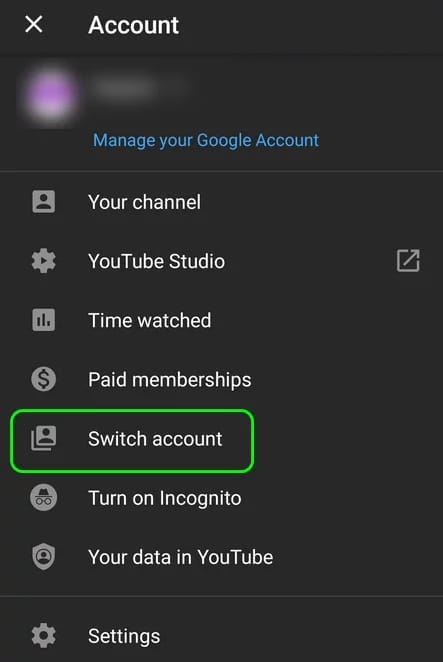 Use a different YouTube account to fix youtube picture in picture not working