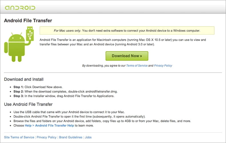 Connect android to mac via android file transfer for Mac